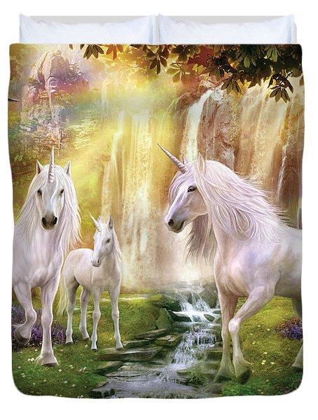 Waaterfall Glade Unicorns Duvet Cover by Jan Patrik Krasny