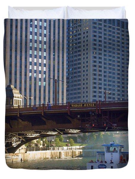 Duvet Cover featuring the photograph Wabash Street Bridge by John Hansen