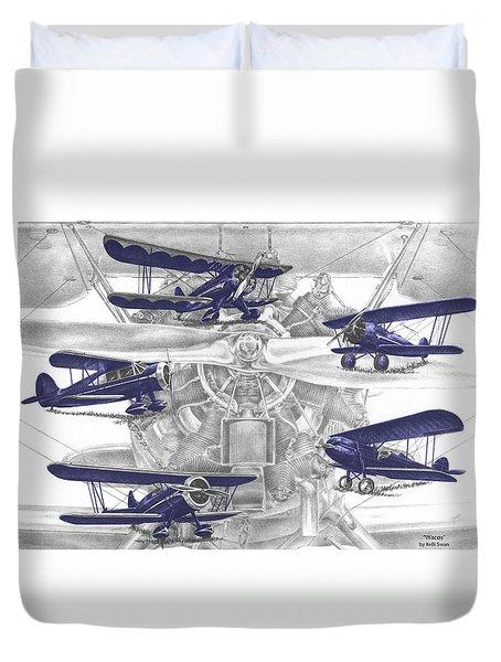 Wacos - Vintage Biplane Aviation Art With Color Duvet Cover