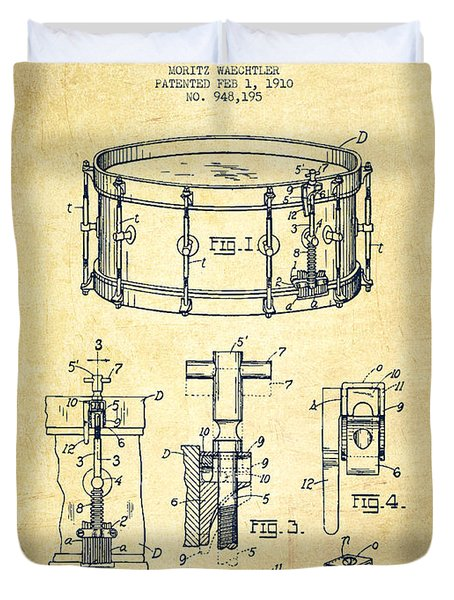 Waechtler Snare Drum Patent Drawing From 1910 - Vintage Duvet Cover by Aged Pixel