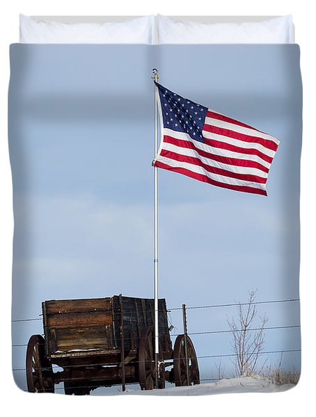 Wagon And Flag Duvet Cover