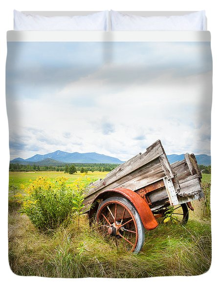 Duvet Cover featuring the photograph Wagon And Wildflowers - Vertical Composition by Gary Heller