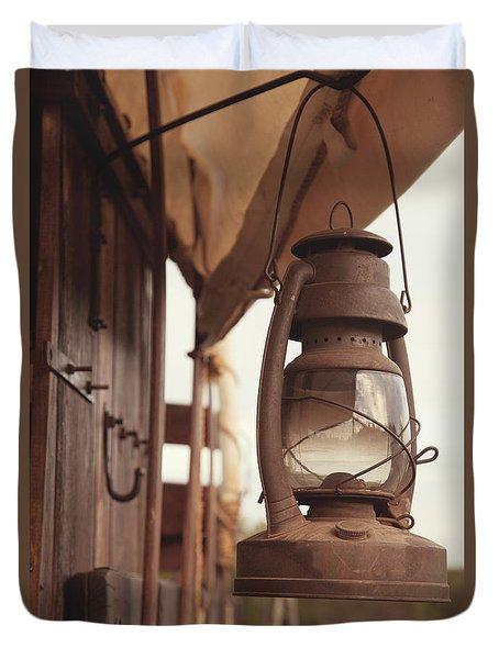 Wagon Lantern Duvet Cover by Toni Hopper