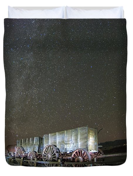 Wagon Train Under Night Sky Duvet Cover