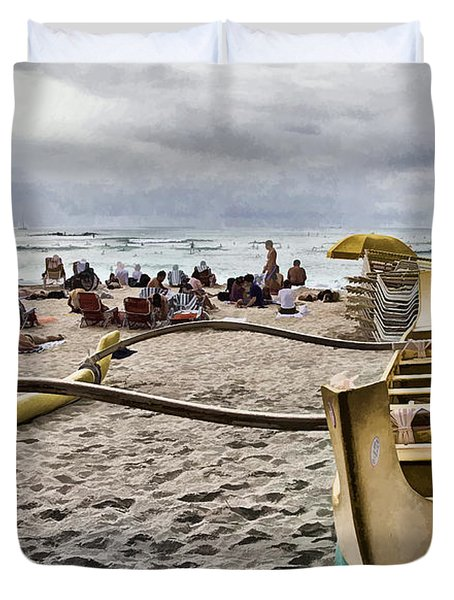 Waikiki Beach Hawaii Duvet Cover by Douglas Barnard
