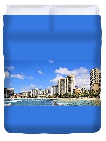 Waikiki Beach Hawaii Duvet Cover