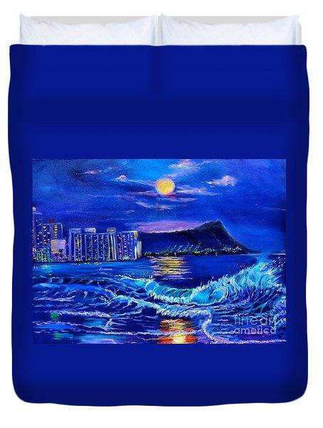Waikiki Lights Duvet Cover by Jenny Lee
