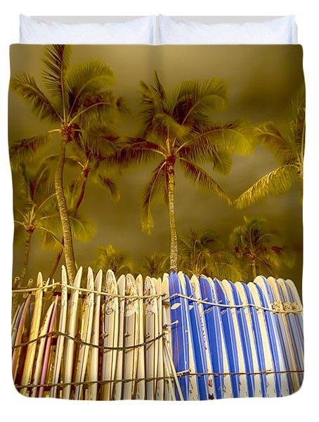 Waikiki Surf Duvet Cover by Douglas Barnard