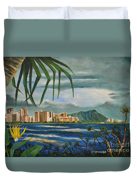 Waikiki View Duvet Cover