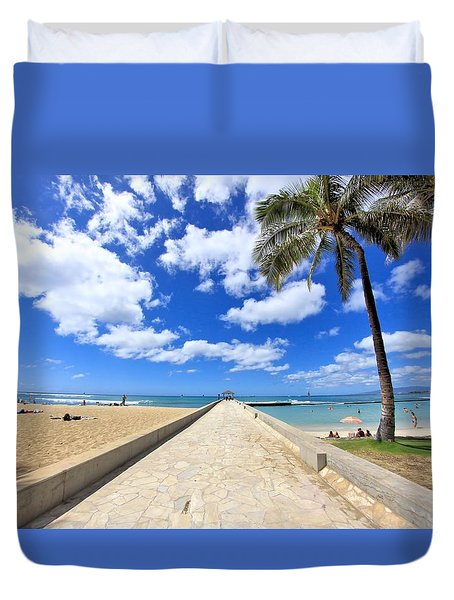 Waikiki Wall Duvet Cover by DJ Florek