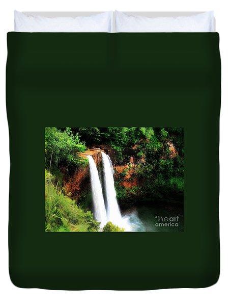 Duvet Cover featuring the photograph Wailua Falls by Kristine Merc