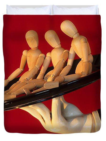 Waiter Serving 3 Dummies Duvet Cover by Bob Christopher