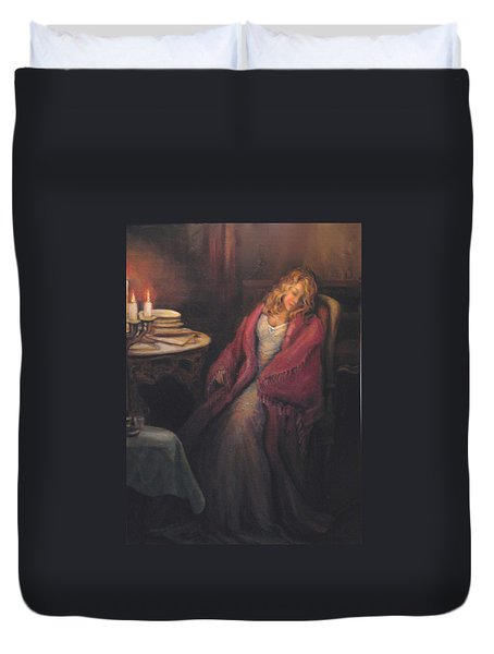 Duvet Cover featuring the painting Waiting by Donna Tucker