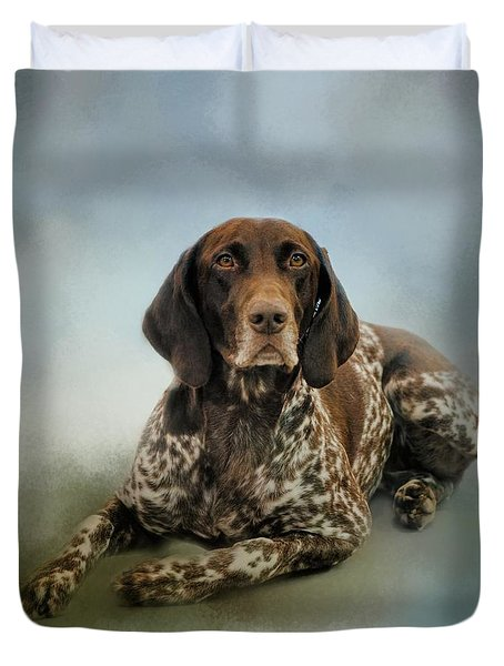 Waiting For A Cue - German Shorthaired Pointer Duvet Cover by Jai Johnson