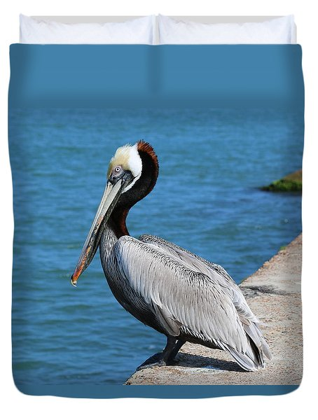 Waiting For A Fish  Duvet Cover