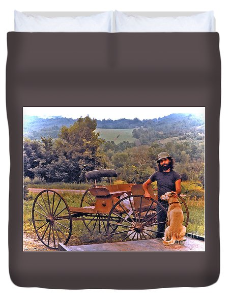 Waiting For A Lift On The Old Buckboard Duvet Cover by Patricia Keller