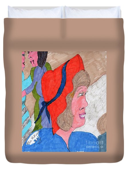 Waiting For A Taxi Duvet Cover by Elinor Rakowski