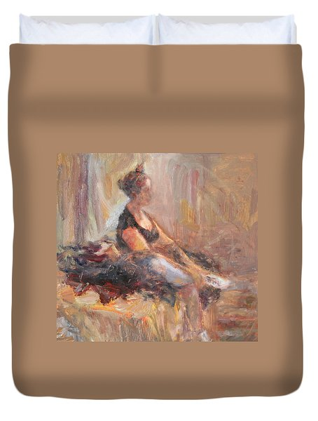 Waiting For Her Moment - Impressionist Oil Painting Duvet Cover