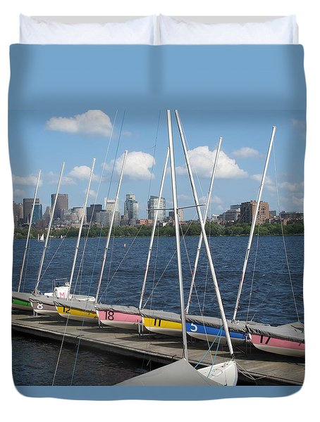 Waiting For Sailors On The Charles Duvet Cover