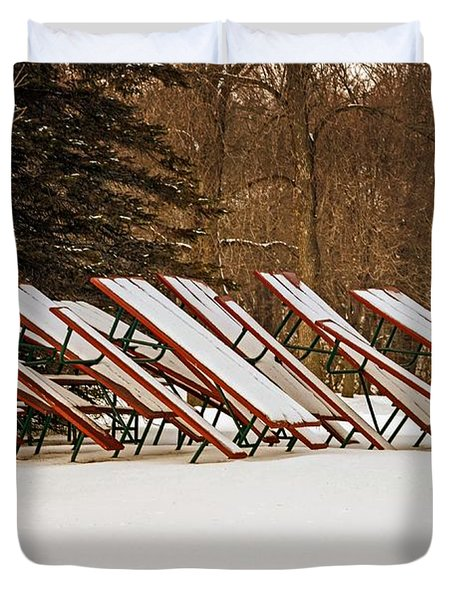Waiting For Summer - Picnic Tables Duvet Cover by Mary Machare