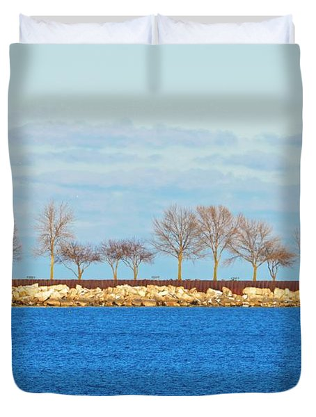 Waiting For Summer - Trees At The Edge Duvet Cover by Mary Machare