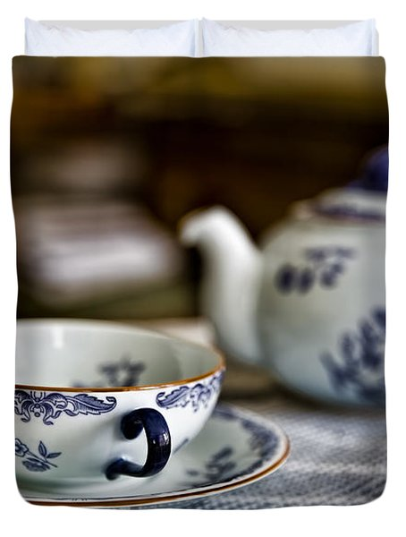 Waiting For #tea #white #cup With #blue Decor. Duvet Cover by Leif Sohlman