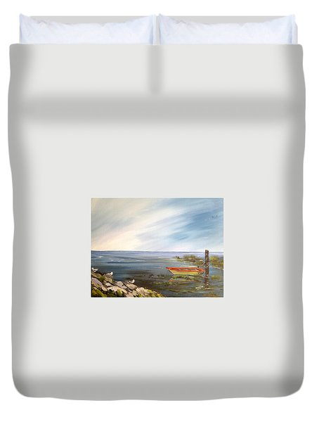 Waiting For The Fisherman Duvet Cover by Dorothy Maier