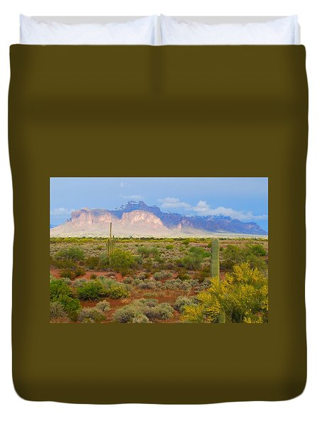 Duvet Cover featuring the photograph 16x20 Canvas - Superstition Mountain Light by Tam Ryan