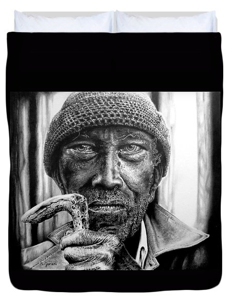 Man With Cane Duvet Cover by Geni Gorani