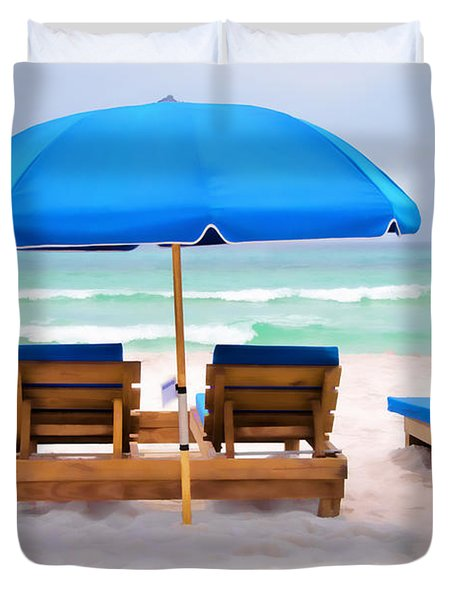 Panama City Beach Digital Painting Duvet Cover