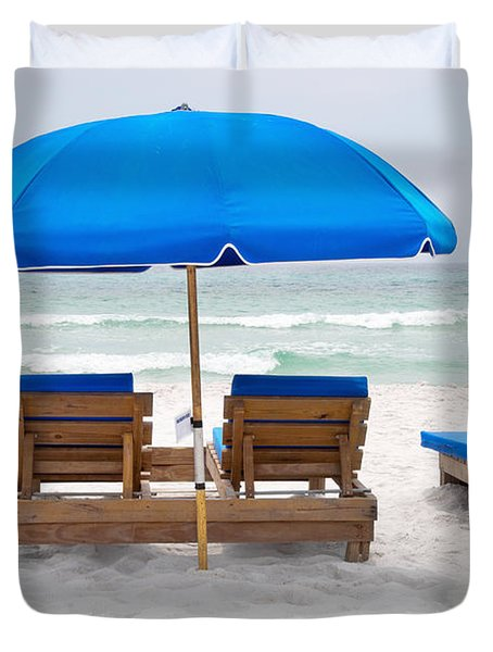 Duvet Cover featuring the photograph Panama City Beach Florida Empty Chairs by Vizual Studio
