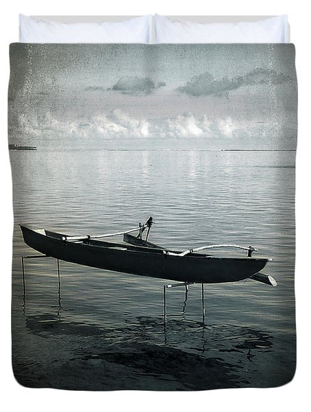 Duvet Cover featuring the photograph Waiting In Blue by Lucinda Walter