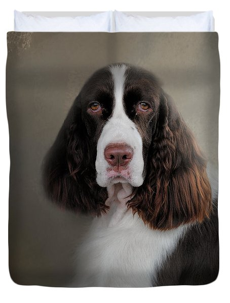 Waiting Patiently - English Springer Spaniel Duvet Cover by Jai Johnson