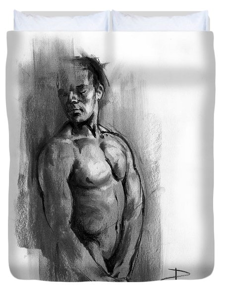 Duvet Cover featuring the drawing Waiting by Paul Davenport