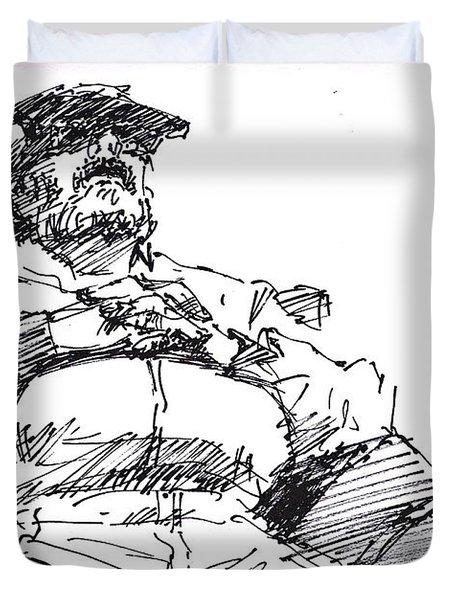 Waiting Room Nap Sketch Duvet Cover