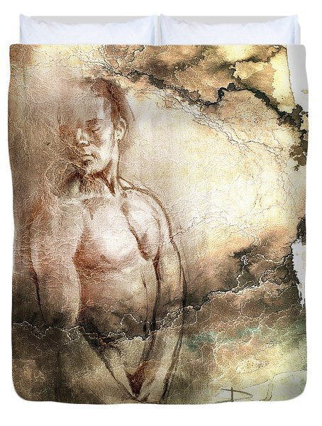 Duvet Cover featuring the drawing Waiting With Mood Texture by Paul Davenport