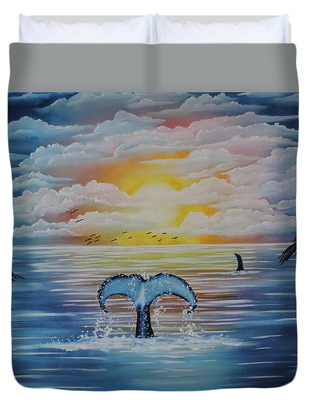 Duvet Cover featuring the painting Wale Tales by Dianna Lewis