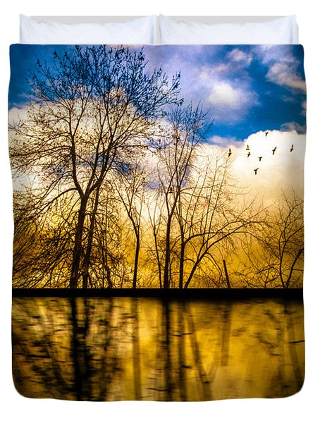 Walk Along The River Duvet Cover by Bob Orsillo