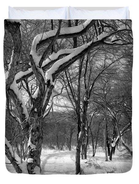 Walk In The Snow Duvet Cover