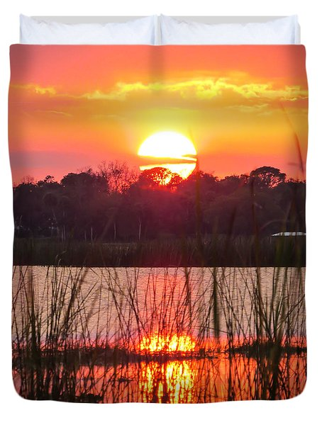 Walk In The Water Sunset Duvet Cover