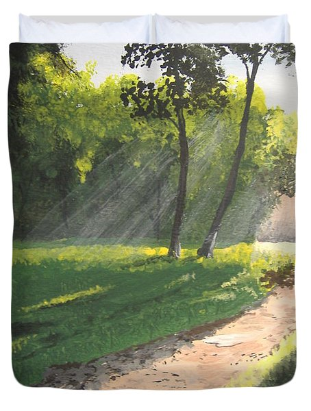 Walk Into The Light Duvet Cover by Norm Starks