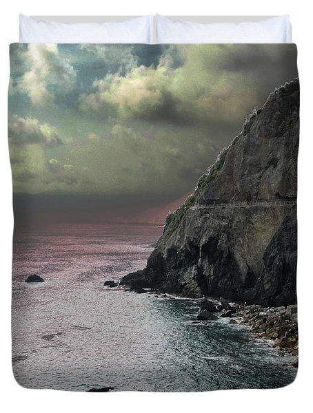 Duvet Cover featuring the photograph Walk Of Love Riomaggiore by Natalie Ortiz