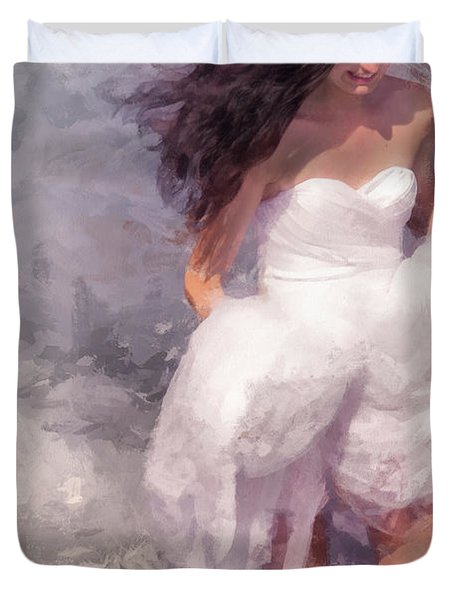 Walk Off The Earth Duvet Cover by Jenny Rainbow