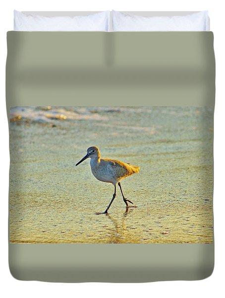 Duvet Cover featuring the photograph Walk On The Beach by Cynthia Guinn