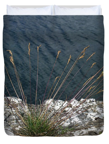 Duvet Cover featuring the photograph Flowers In Rock by Brenda Brown