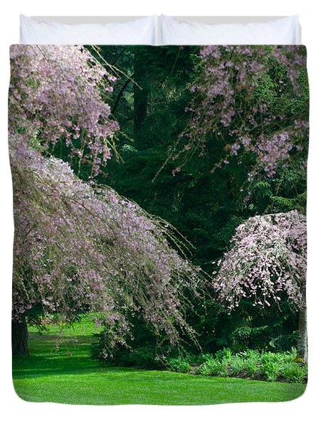 Walk Under The Cherry Blossoms Duvet Cover by Sabine Edrissi