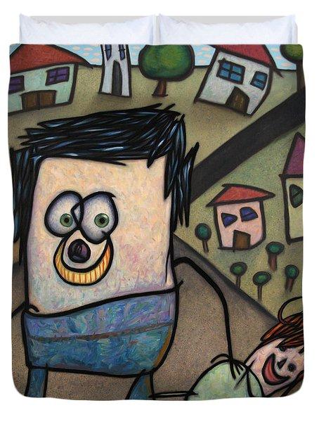 Walkin The Dog Duvet Cover by James W Johnson
