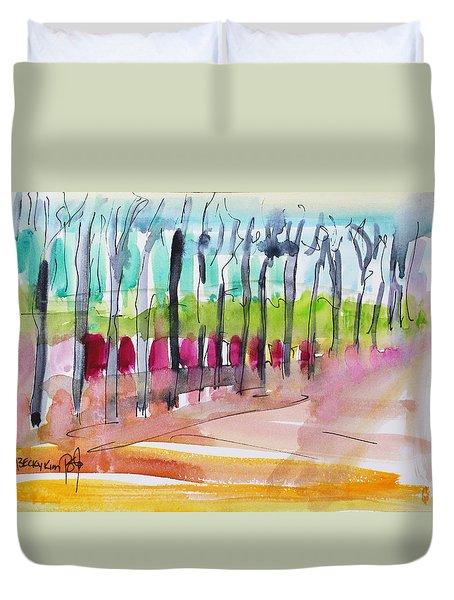 Walking Along The Street Duvet Cover by Becky Kim