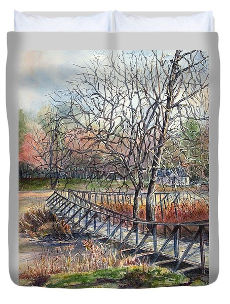 Walking Bridge Duvet Cover by Janet Felts