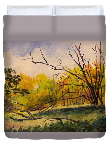 Walking In Montgomery Bell Park. Duvet Cover by Janet Felts